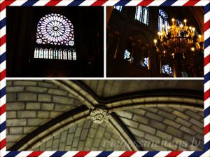 Bildē redzami skati no Parīzes Dievmātes katedrāles.